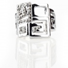 Italian Designer's Luxurious Maze Style Imitated Diamond Finger Ring - Silver