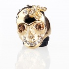 Italian Unique Skull with Bug Style Cz Stones Platinum-Plating Alloy Finger Ring - Golden