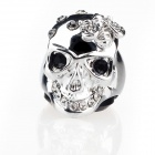 Italian Unique Skull with Bug Style Cz Stones Platinum-Plating Alloy Finger Ring - Silver