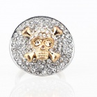 Italian Skull in the Hat Style Czech Stones Finger Ring - Silver + Golden