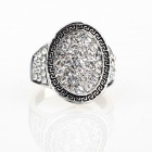 Greek Mirror Mirror Imitated Diamond Finger Ring - Silver