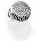 Greek Powerful Phoebus Apollo Spirit Pattern Imitated Diamond Finger Ring - Silver