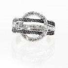 Greek Unique Solar System Style Imitated Diamond Finger Ring - Silver