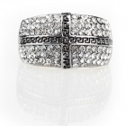 Italian Cross Pattern Czech Stones Finger Ring - Silver
