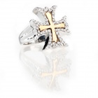 Italian Graceful Cross Style Imitated Diamond Finger Ring - Silver + Golden