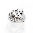 French Beautiful Heart Shape w/ Laser Style Cz Stones Finger Ring - Silver