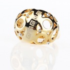 French Luxurious Finger Ring with Holes - Golden