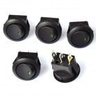12V Car OFF/ON Rocker Switches w/ Green Light Indicator - Black (5PCS)