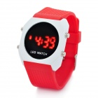 Concise Silicone Jelly Band Round Dial Red LED Wrist Watch - Red (1 x CR2032)