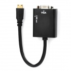 Mini HDMI to VGA & Audio HD Conversion Adapter Cable - Black (14cm-Length)