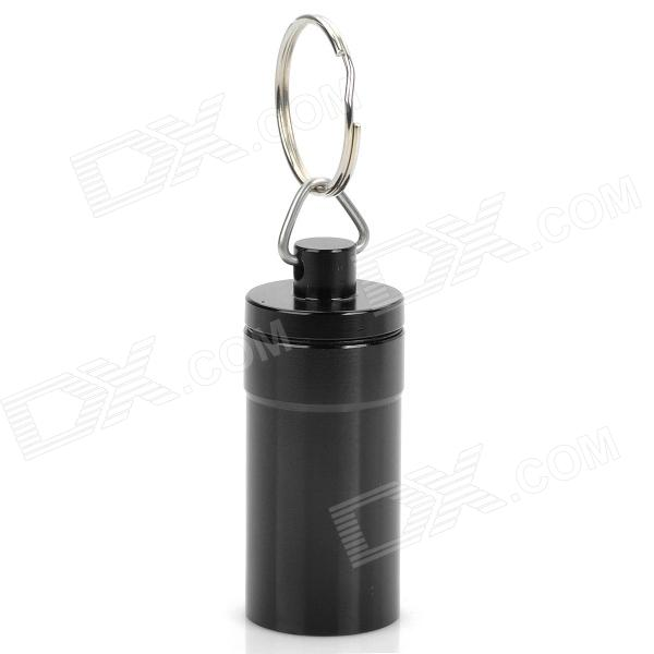 Stylish Aluminum Alloy Keychain with Pill / Small Gadgets Holder - Black