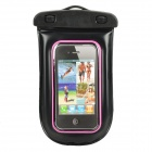 Universal Waterproof Bag with Earphone / Armband / Strap for iPhone / Cell Phone - Black + Pink