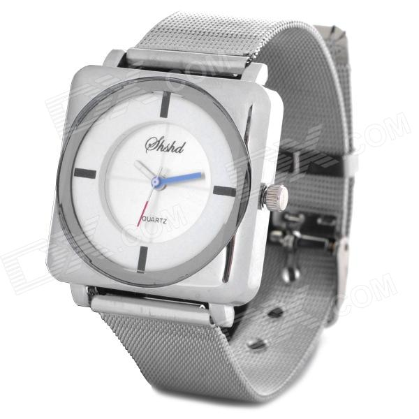 Elegant Steel Band Quartz Analog Wrist Watch for Women - White + Silver (1 x 377) stylish bracelet band quartz wrist watch golden silver 1 x 377