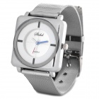 Elegant Steel Band Quartz Analog Wrist Watch for Women - White + Silver (1 x 377)