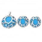 Buy Stylish Round Shape Pendant Necklace + Earrings Jewelry Set - Blue
