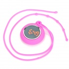Adorable Silicone Chain Red LED Water Resistant Round Pendant Watch - Pink (1 x CR2032)