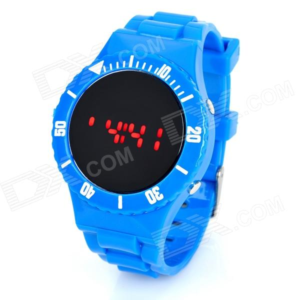 Silicone Band Red LED Digital Wrist Watch - Blue (1 x CR2032)