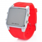 Concise Dial Silicone Band Red LED Digital Wrist Watch - Red (1 x CR2032)