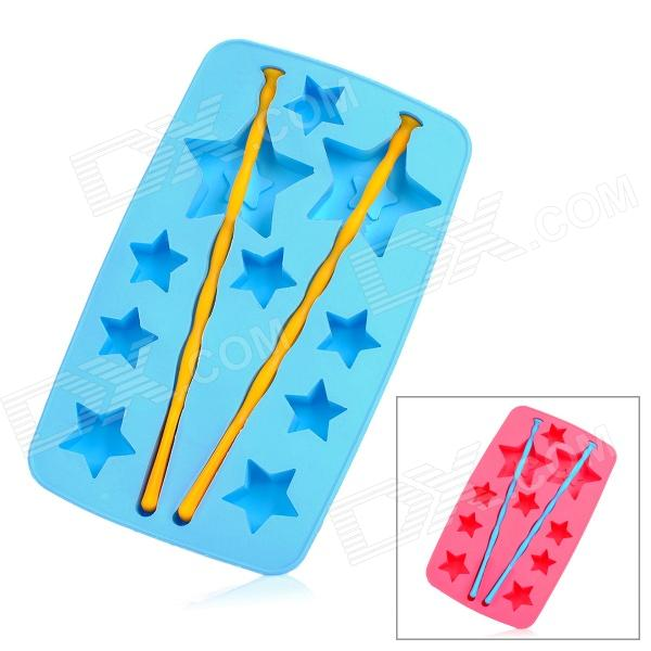 Silicone Lucky Star Shaped Ice Cubes Trays Maker DIY Mould - Random Color silicone skeleton shaped ice cubes trays maker diy mould random color