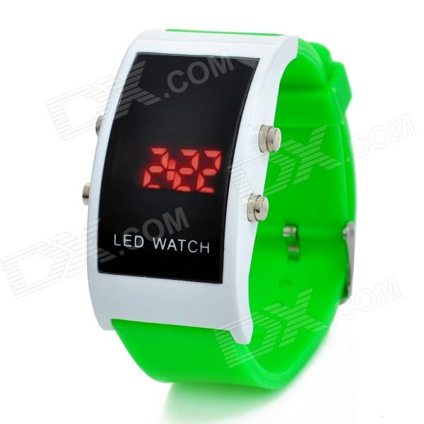 Simple Square Digital LED Wrist Watch - Green (1 x CR2032)