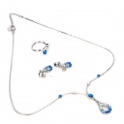 Elegant Blue Rhinestone Waterdrop Necklace + Earrings + Ring Set - Silver + Blue