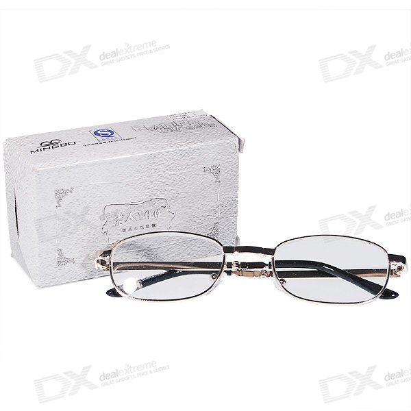 Alloy Frame Folding Reading Glasses (Glass Lens) with Protective Case (+3.00D)