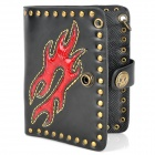 Stylish PU Leather Rivet-Edge Wallet - Black + Red
