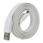 Universal Flat USB Sync Data / Charging Cable with Micro USB Port for Samsung / HTC + More - White