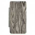 Wood Pattern Replacement Battery Back Case w/ Front PU Leather Cover for Samsung i9100 - Grey