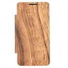 Wood Pattern Replacement Battery Back Case w/ Front PU Leather Cover for Samsung i9100 - Brown