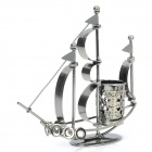 Stilvolle Tischdekoration Iron Art Segelboot Stil Pinsel Topf - Silber