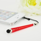BQ6 Baseball Stem Style Capacitive Screen Stylus w/ 3.5mm Dustproof Plug - Red
