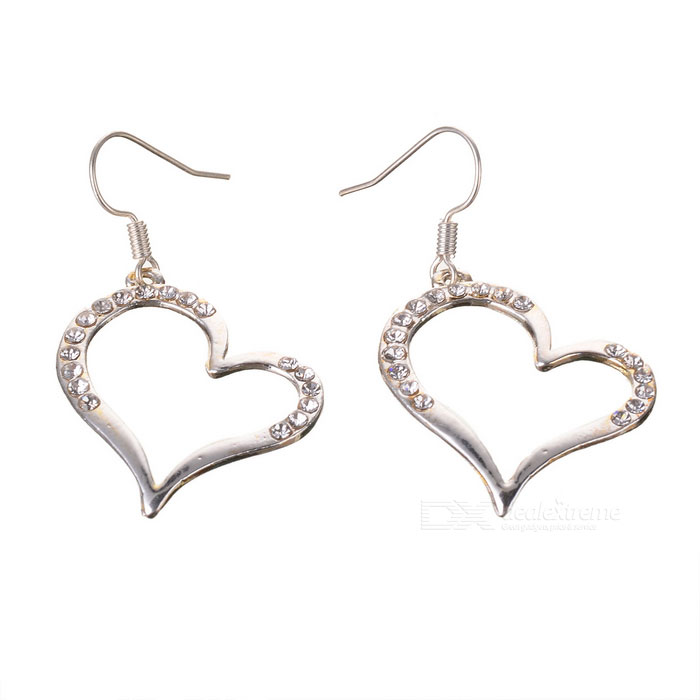 Crystal Heart 925 Silver Earrings