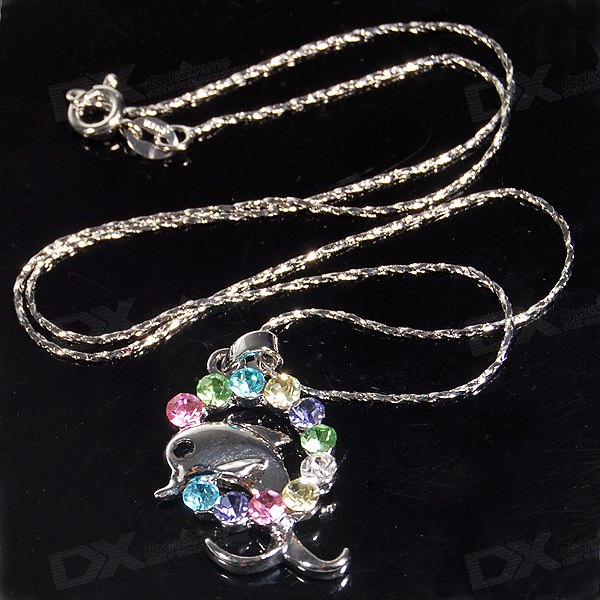 Crystal Dolphin 925 Silver Necklace (42cm)