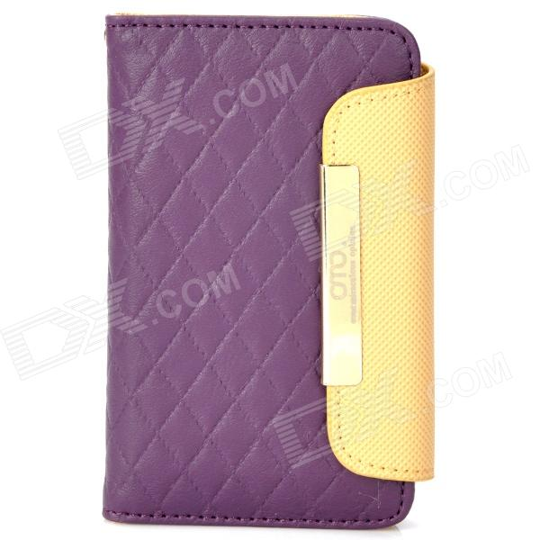 OMO Protective PU Leather Flip-Open Case for Iphone 4 / 4S - Purple + Brown protective pu leather flip open case for iphone 4 4s black