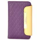 OMO Protective PU Leather Flip-Open Case for iPhone 4 / 4S - Purple + Brown