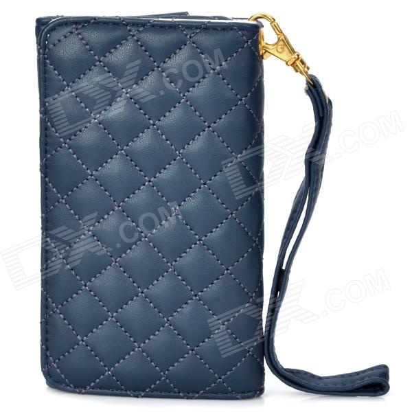 Wallet Style Protective PU Leather Case for Iphone 4 / 4S - Dark Blue fashion england flag pattern wallet style pu leather case for iphone 4 4s multicolored