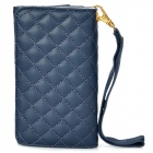Wallet Style Protective PU Leather Case for iPhone 4 / 4S - Dark Blue