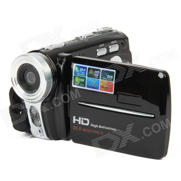 HD-200 5.0MP Digital Video Recorder Camcorder w/ 3.0 TFT / 16X Digital Zoom / SD - Black 5 0mp digital video camcorder w 4x digital zoom motion detection hdmi sd slot 2 5 tft lcd