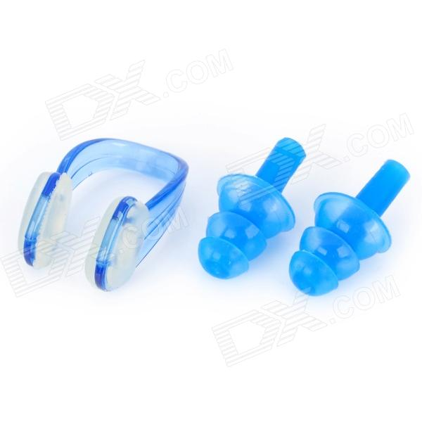Silicone Swimming Ear Plugs & Nose Clip - Blue