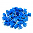 Precision 3362 3-Pin Trimmer Potentiometers - Blue (50-Piece Pack)