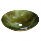 Round Tempered Glass Vessel Sink With Pop -up and Mounting Ring