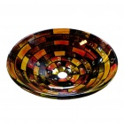 Round Tempered Glass Vessel Colourfull Sink With Pop-up and Mounting Ring