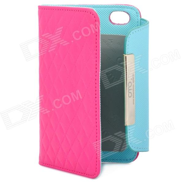 OMO Protective PU Leather Flip-Open Case for Iphone 4 / 4S - Deep Pink protective pu leather flip open case for iphone 4 4s black