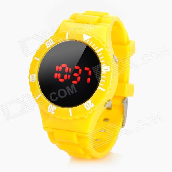 Sports Water Resistant Round Dial Red LED Wrist Watch - Yellow (1 x CR2032) fashion stainless steel red yellow led water resistant wrist watch black 2 x cr2016