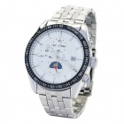 Genuine IK Colouring Stainless Steel Self-Winding Mechanical Wristwatch - White + Silver