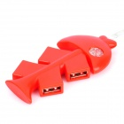 Unique Fish Bone Style 4-Port USB 2.0 Hub - Red