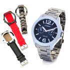 SINOBI Men's Stainless Steel Band Quartz Wrist Watch w/ 3 Watch Bands / Cases - Silver (1 x 626)