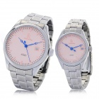 Simple Genuine IKcolouring Water Resistant Mechanical Wrist Watches for Couple - Pink (2-Piece Pack)