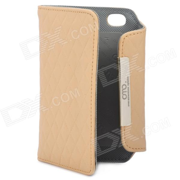 OMO Protective PU Leather Flip-Open Case for Iphone 4 / 4S - Khaki protective pu leather flip open case for iphone 4 4s black